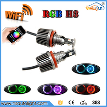 2016 newest 1600LM phone Wifi controller h8 e92 rgb led angel eyes led marker RGBW colors change for BMW h8 e92