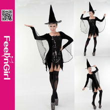 Wholesale Black Peaked Cap Short Skirt With Lace Wing Sex Witch Cosplay