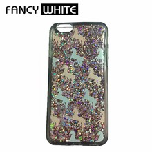Customized liquid glitter clear plastic protective cover for mobile phone