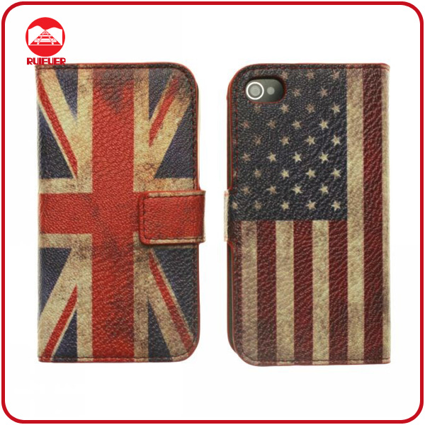 Hot Retro UK Union Jack Flag Wallet Leather Case for Apple Iphone 4 4G
