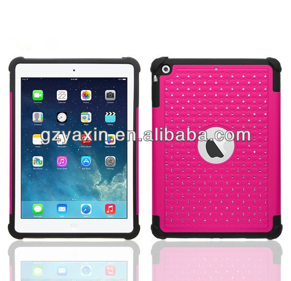 Newest Deluxe 3 in 1 Combo Case For iPad Air Bling Diamond Case,water proof case for ipad air