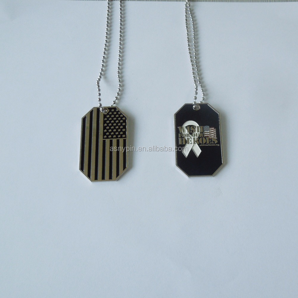 USA flag logo metal dog tag with ball chain necklace promotion gift