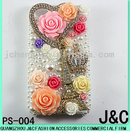 New arrival Resin flower decorated Cell phone protection box