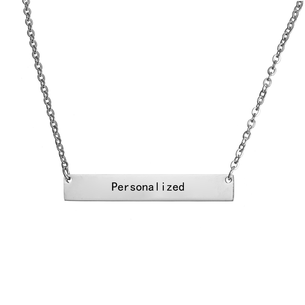 New Personalized Blank Bar Pendant Necklace 3 Colors Stainless Steel Custom Name Plate Necklace Can Engrave Word Letters Jewelry 2