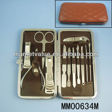 Luxurious 13pc Finger / Toe Nail Manicure Pedicure Tools Set / Kit in PU Leather Box
