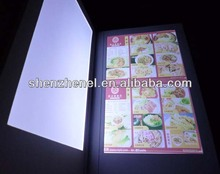 patent 2 sides illuminated led restaurant menu cover M5511 with various pu cover material