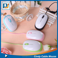 New Fashion USB Creative Candy Color Optical cable Wired Mouse for 2015 best gifts promotional