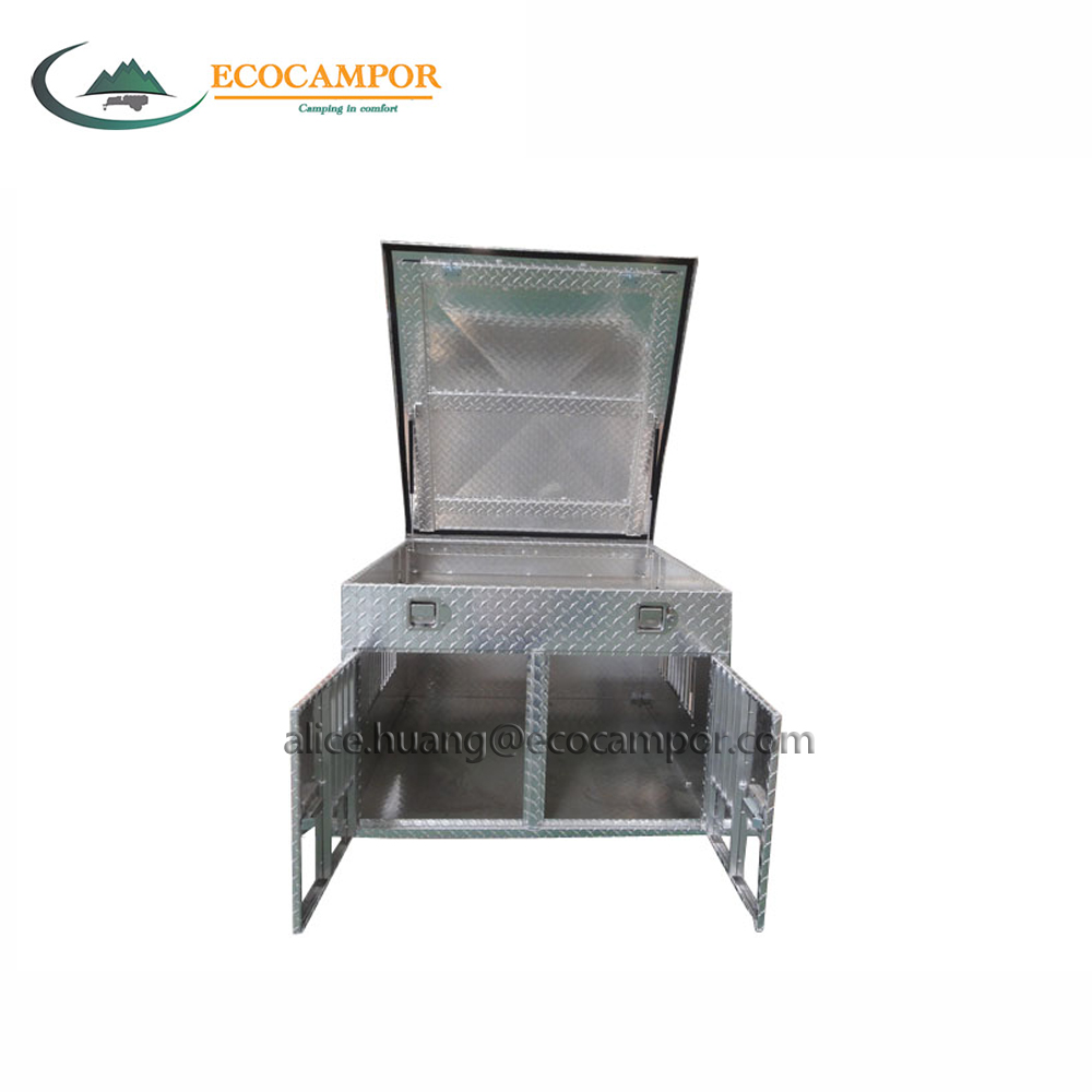 Double compartment aluminum car dog box with top storage