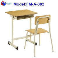 FM-A-302 Single wood school chair and desk for student