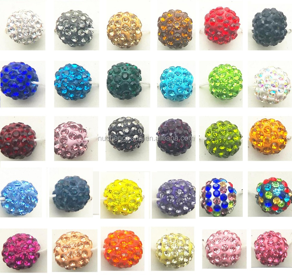 6mm/8mm/10mm/12mm/14mm Diamond CZ Pave Clay Beads For Shamballa Bracelet