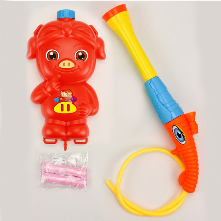 kids Summer red plastic Water Gun Toy with backpack