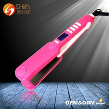 Professional salon using Pro Nano <strong>Best</strong> price titanium ceramic pink flat iron <strong>hair</strong> <strong>straightener</strong>