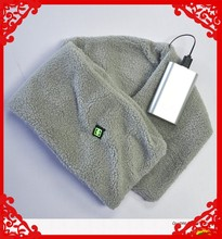 Woman's heating scarf with heating elements and USB charger