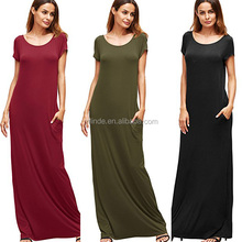 Wholesale Super Loose Stretch Custom Women's Short Sleeve Casual Plain Floor Length Rayon Long Maxi Dress With Pocket