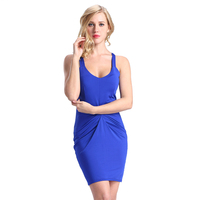 Blue sleeveless design sexy embelished waist evening dress for women