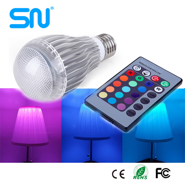 Hot sale Dimming 16 color led change color lamps 9w Remote Control RGB led light bulb e27