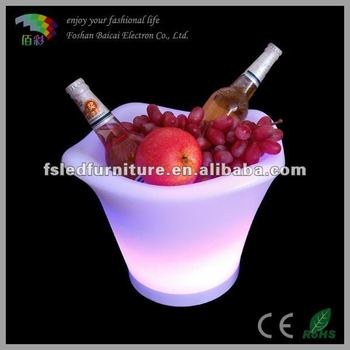 popular led bar bucket for party,event,wedding/glitter champagne cooler container