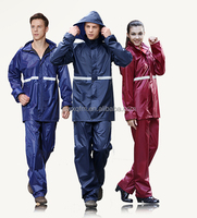 190T polyester pvc rainsuit attached hood reflective tape safety raincoat worker raincoat