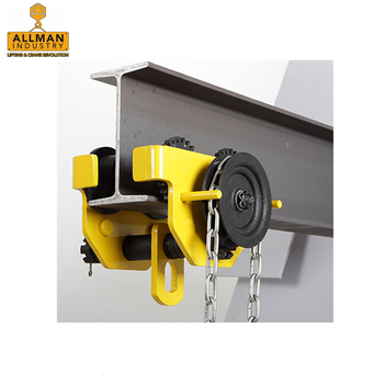 China made ALLMAN high strength GT series 2ton Manual Geared Trolley for lifting chain hoist