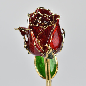 24K Gold Foil Never Die Real Red Rose Dipped With Gift Box