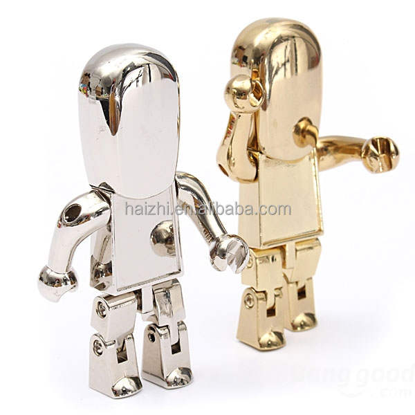 Free logo engraved metal people design pen drive usb stick tiny Robot USB Flash Drive