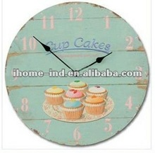 Antique MDF Wall Clock Retro Vintage Style Cupcake Decorative Wall Clock for Promotional Gift Customized Design