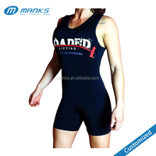 Black Printed 85% Polyester and 15% Spandex Uniex Powerlifting Singlet