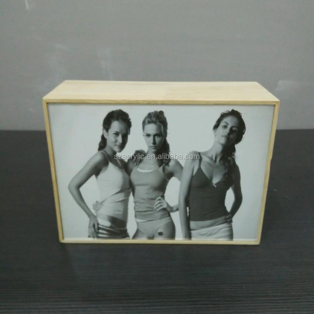5x7 Wooden acrylic magnetic photo frame acrylic photo display frame
