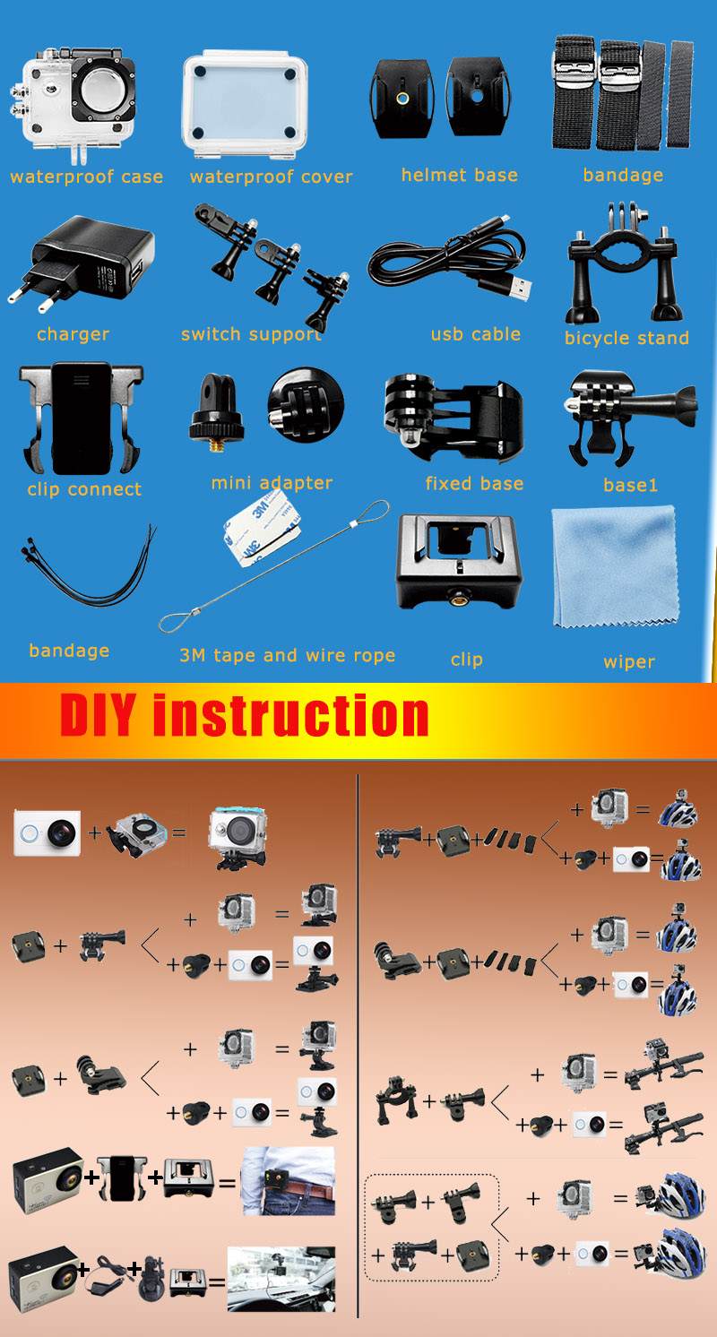 2016 New Private model 2.0 inch remote control action video, new 4K action cam, Hight clear 170A extreme sport video DV
