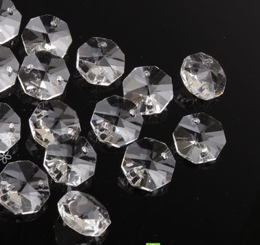200pcs/lot 24mm Crystal glass octagon bead door/window crystal octagon beads in 2 holes home decoration accessories