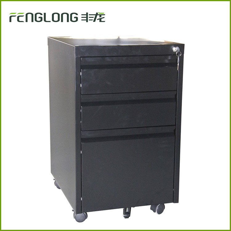 High quality office equipment mobile vertical filing cabinet metal movable pedestal file cabinet with 3 drawer