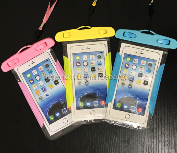 Custom unbreakable outdoor waterproof mobile phone case, transparent PVC waterproof bag for phone