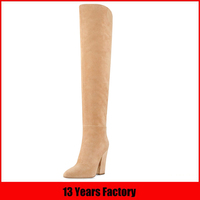 new design popular fashion slim fit over the knee quality thick high heel suede woman thigh high long winter boots