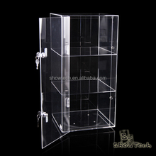 Counter 3 tiers rotatable transparent acrylic counter display shelf with lock ST-RSC-C-08