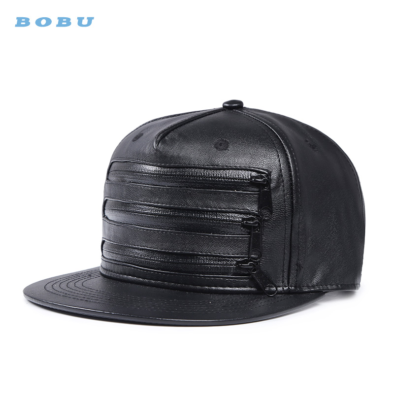 Wholesales <strong>Custom</strong> 6 panel leather zipper snapback hats