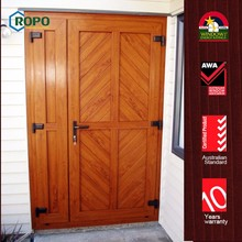Red wood color UPVC frame double open decorative door wall hangings