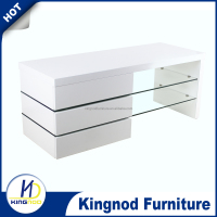 Modern White Gloss Living Room Furniture Glass TV Stand/ MDF Wood Corner TV Cabinet, mechanical tv lift stand