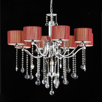 Odsen 2014 red candle fabric 8 heads pendant lamp with crystal decorative for home or hotel made in China