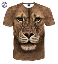 Factory direct sale printing animal cheap lion 3d t-shirts for men