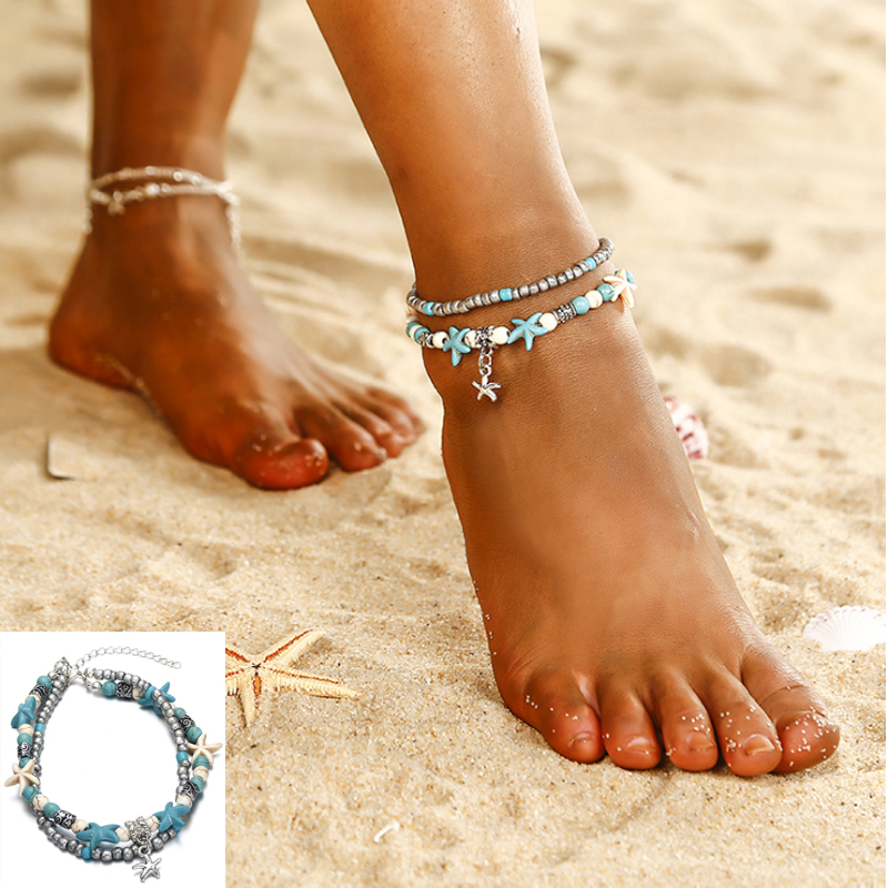 New Arrival Bohemian Boho Beach Starfish Anklet Feet Sexy Summer Bead Chains Anklet Set For Ladies Women