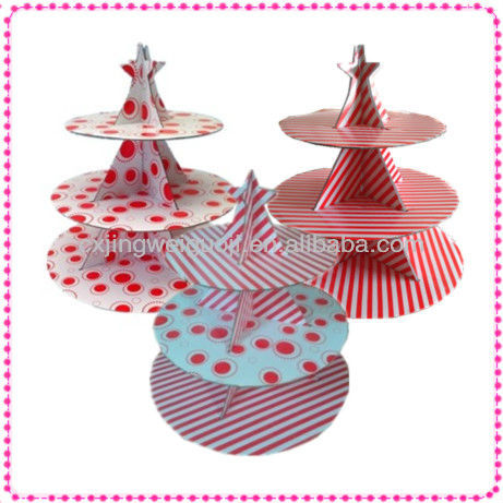 decorative folding disposable paper 3-tier muffin cake stand
