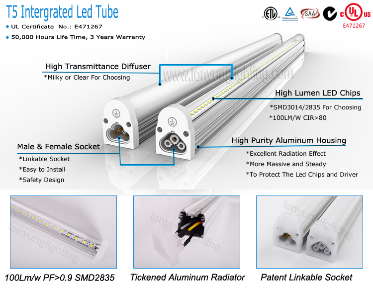 New design t5 integrated tube lighting 4000-6500k 5 years lifespan 1500mm 20w tuv approve indoors lights