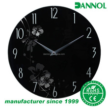 Elegant floral design glass printing modern art wall clock/ wholesale quartz wall clock without frame
