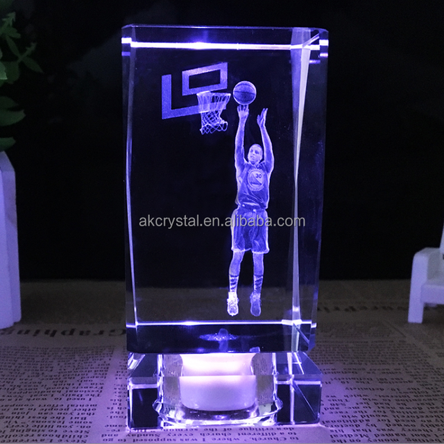 Wholesale sports gift 3d laser photo crystal cube with ledlight base/crystal glass 3d led cube