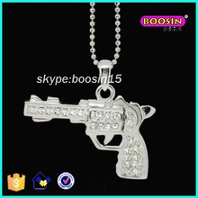 Chinese jewelry making supplies big silver gun pendant alloy necklace #13348