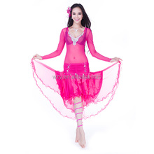 Red Fancy Clothes Dancing Bellydance Skirt latin costumes