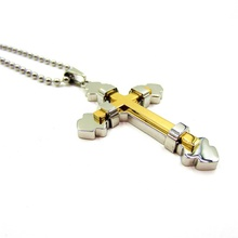 High Quality Stainless Steel 18K Gold plated Two Layer silver gold double Cross Pendant necklace