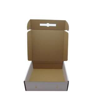 fashion packing white corrugated box with plastic handle