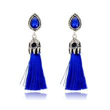Exquisite large stone with tassel charm earring, lady's bohemian fashion post earring,