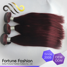 Wholesale remy hair weaving color 99j, pure natural colored brazilian hair weave, virgin fashion red color hair extensions
